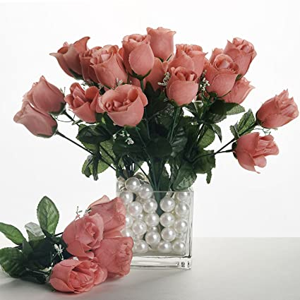 Amazon balsacircle 84 blush silk rose buds 12 bushes balsacircle 84 blush silk rose buds 12 bushes artificial flowers wedding party centerpieces arrangements mightylinksfo