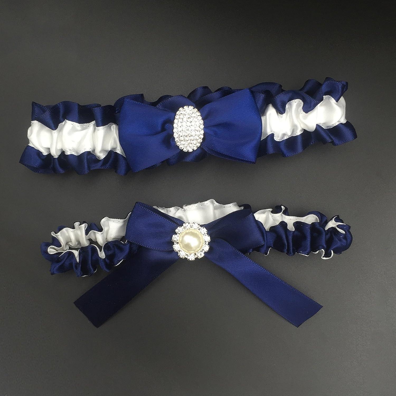018adc93539 Kirmoo Bridal Garter Belt Set Navy Blue and White Wedding Keepsake Toss  Garters (Navy Blue)  Amazon.ca  Clothing   Accessories
