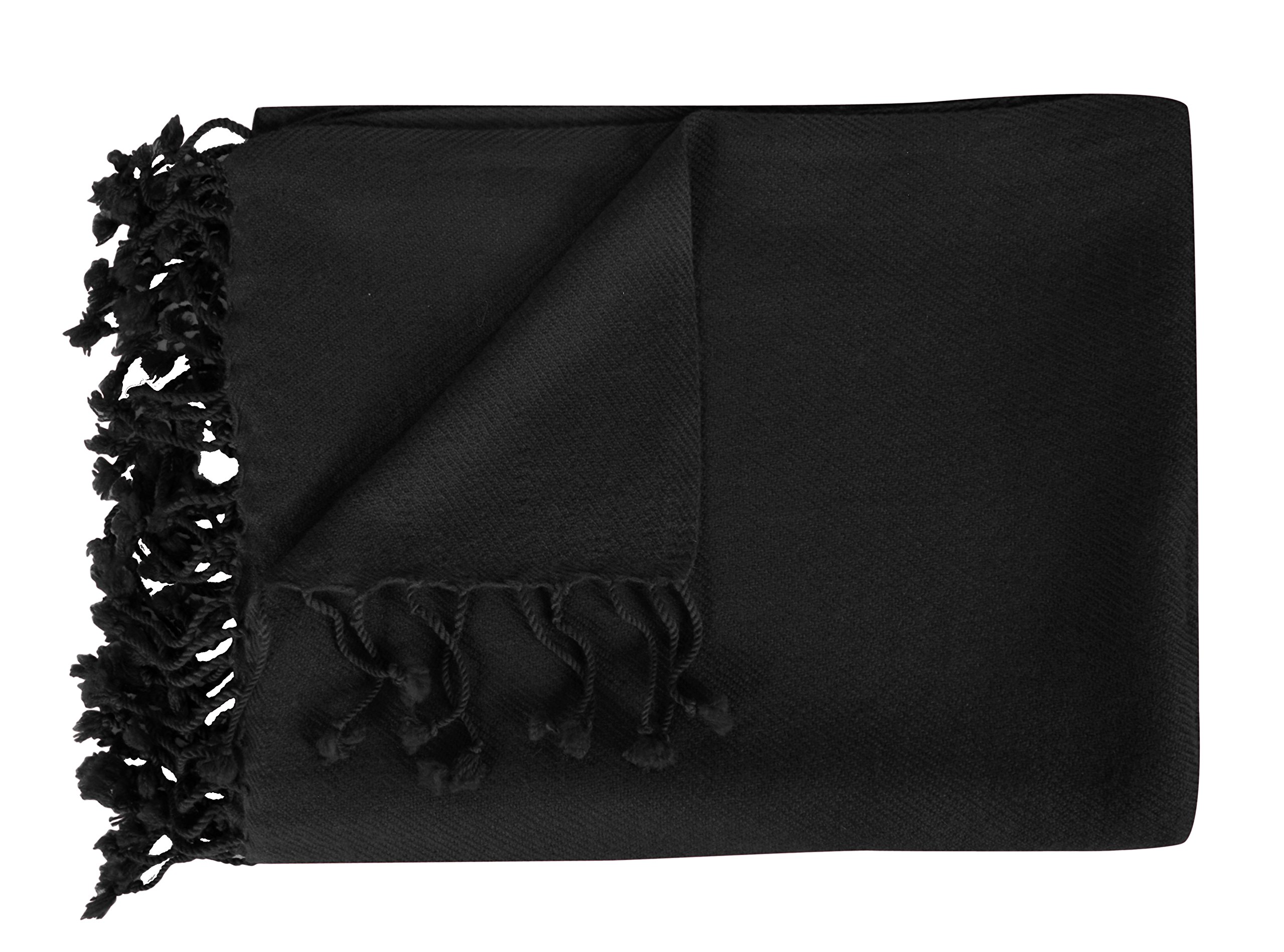 Peach Couture Home Collection Luxuriously Warm and Soft Cashmere Throw Blanket 50 x 60 in (Ebony) by Peach Couture