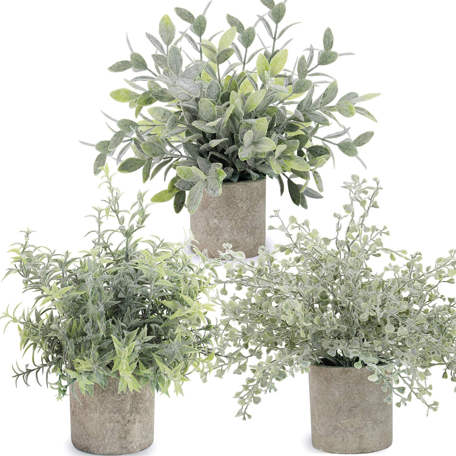C APPOK Artificial Potted Plants Mini Fake Eucalyptus Plant, Small Plastic Green Plant with Pot, Faux Leaf Rosemary Plants for Shelf, Home Decor, Indoor, Table Decoration - 3 Pack, Flocking Green