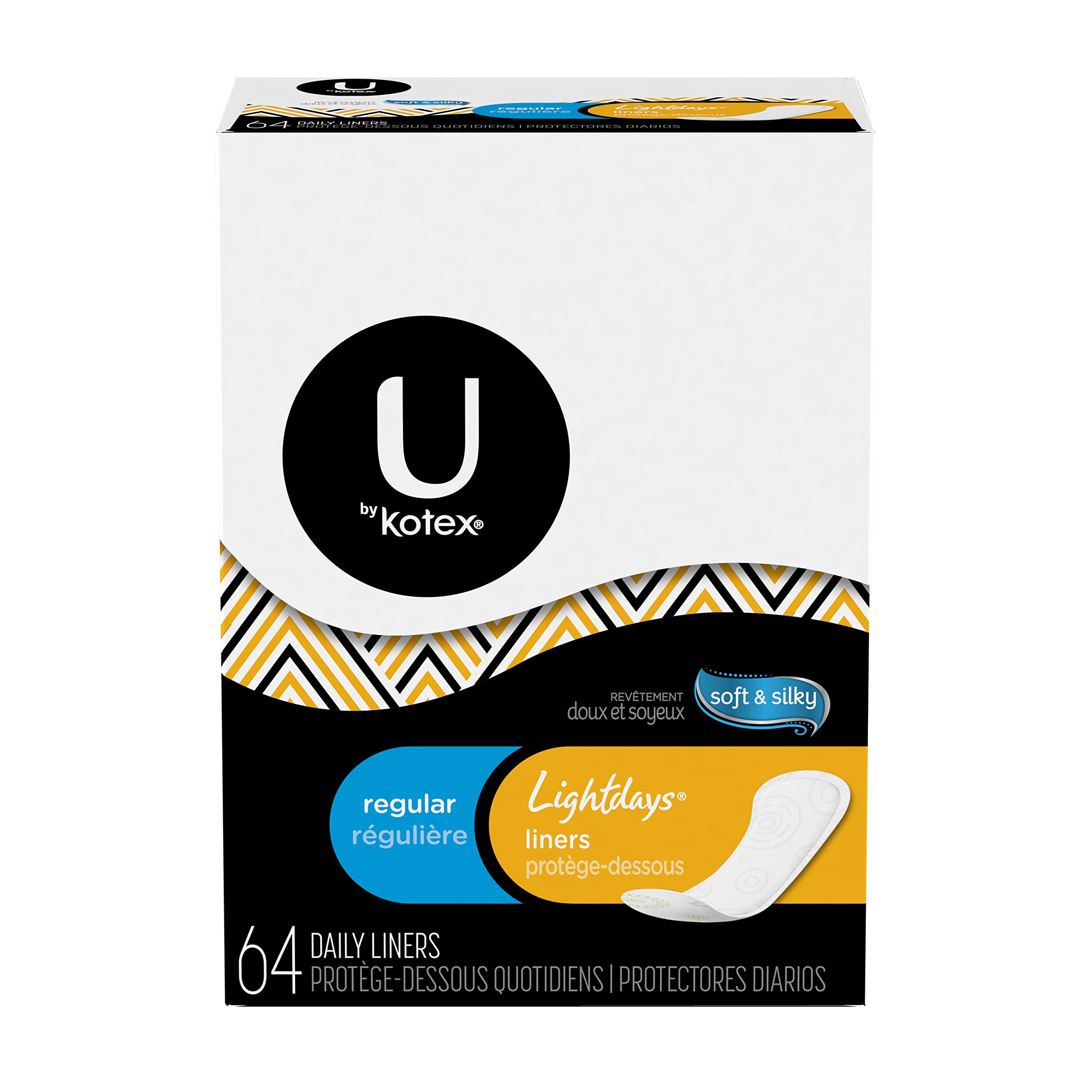 U By Kotex Regular Light Days Liners, 64 Count (pack Of 8)