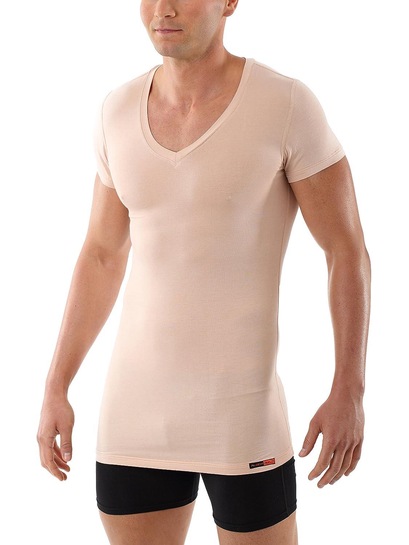 ALBERT KREUZ Camiseta Interior Invisible Color Carne//Piel//Beis de Manga Larga con Cuello de Pico y de algod/ón el/ástico