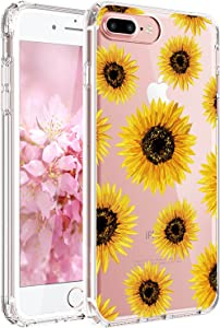 JAHOLAN iPhone 7 Plus Case, iPhone 8 Plus Case Girl Floral Clear TPU Soft Slim Flexible Silicone Cover Phone Case for iPhone 7 Plus iPhone 8 Plus - Sun Flowers