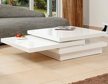 Couch Tisch Weiss Hochglanz Aus MDF 120x80cm Recht Eckig