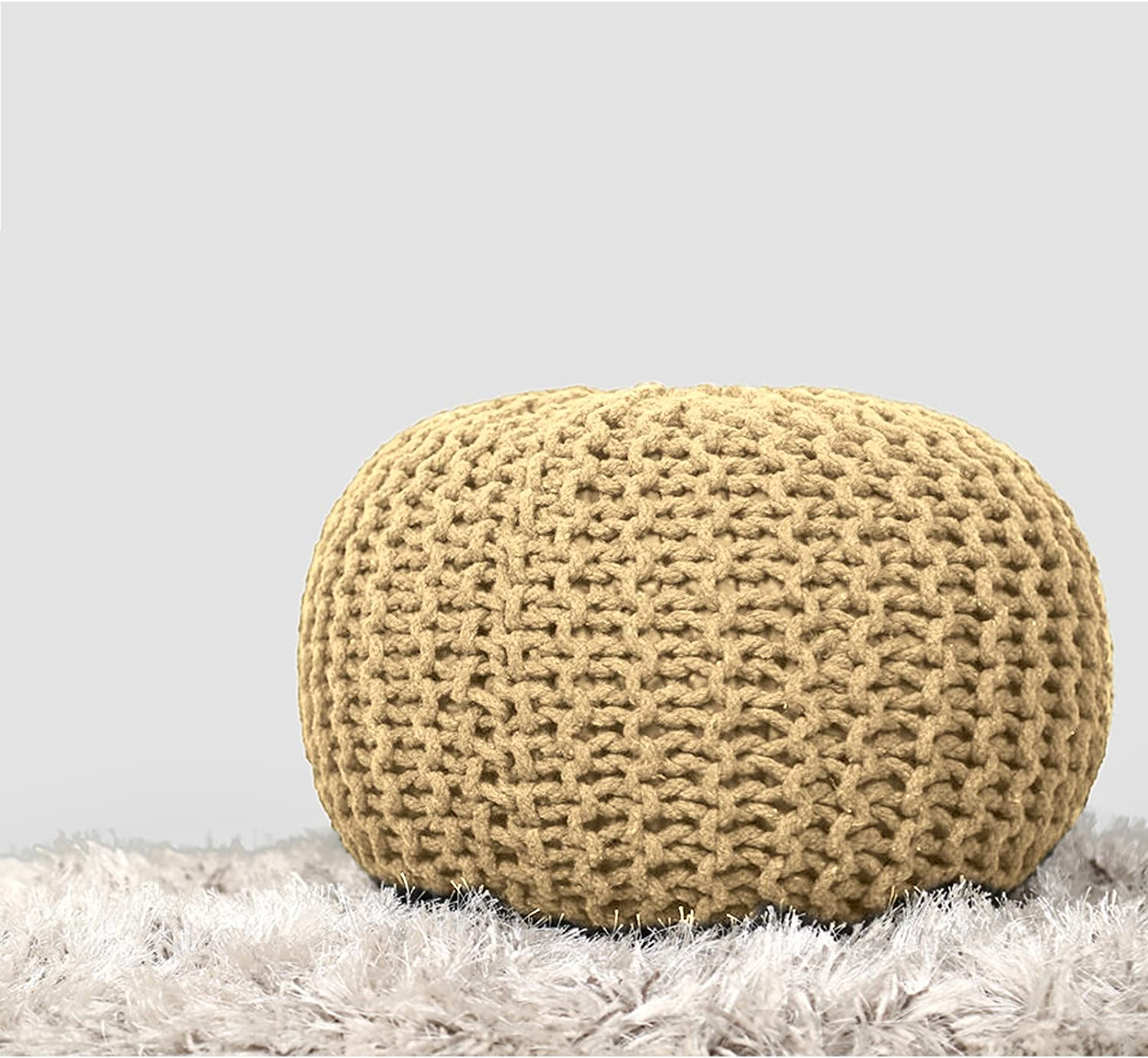 Cotton Braided Cord Stuffed Ottoman - Floor Pouf Modern Small Space Patio Seating Footstool Children Room Furniture - Yellow - D-20 x H-14 inch