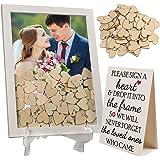 LotFancy Wedding Guest Book Alternative, Drop Top Frame, Heart Drop Guest Book with Stand, 85 Wooden Hearts, 2 Pens…