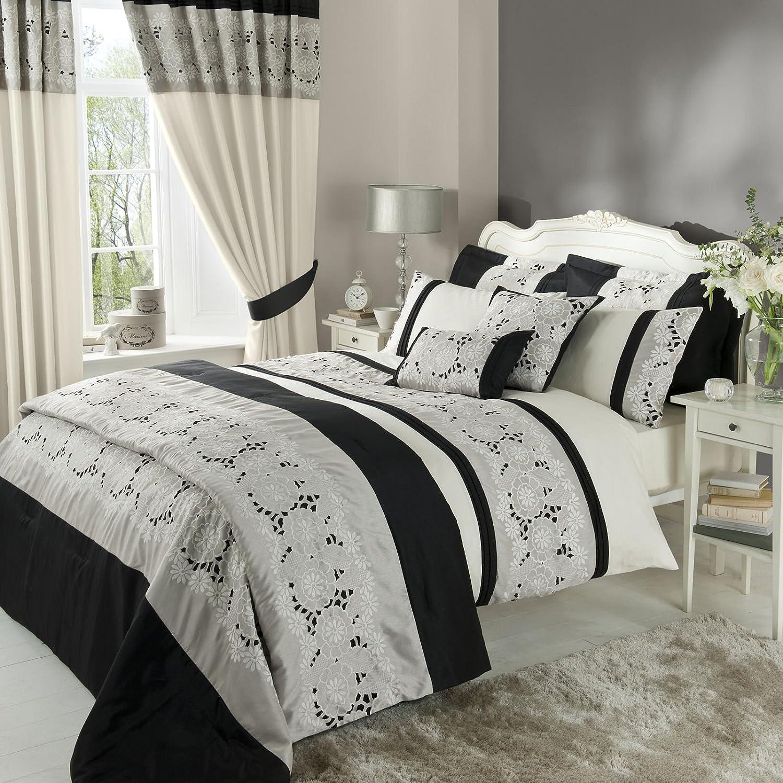 Catherine Lansfield BDB3-5562-WKHQ-Black Isadora KS Quiltset Black