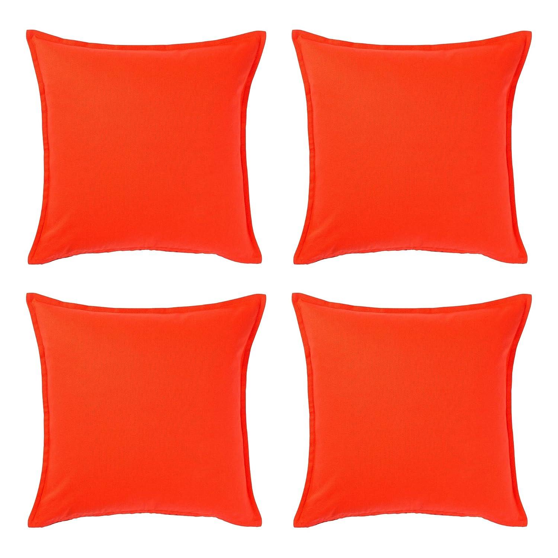 Ikea GURLI - Funda de cojín (50 x 50 cm, 100% algodón, 4 Unidades), Color Naranja