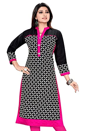 f7f3e76d83c957 Ashwati Cotton Kurti for Women Latest Designer Tops for Girls Party Wear  Long Exclusive Casual Dress Beautiful Kurta for Ladies (Black and White)   ...