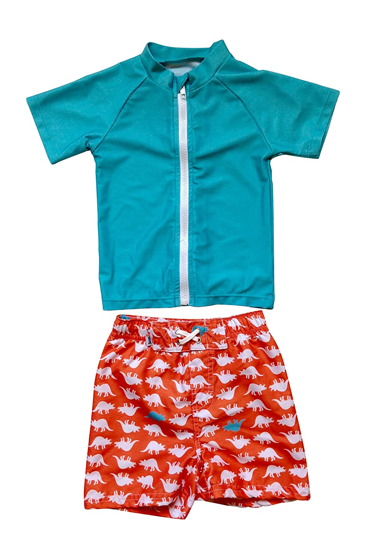 SwimZip Zipper Short Sleeve Rash Guard Swimsuit Set Dinomite Gray SZIDINOMITERGS01
