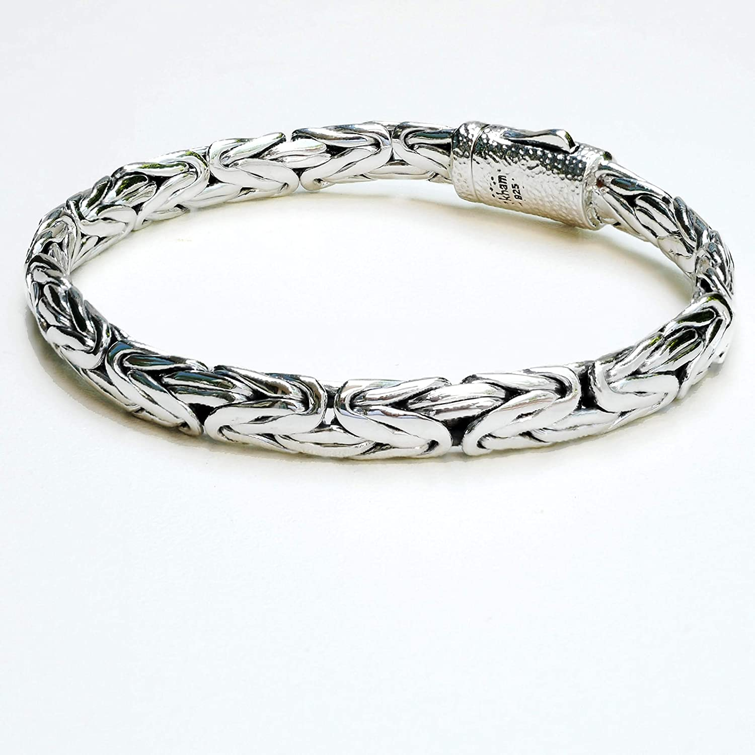 8.2 mm Woven Sterling Silver Braided Bali Style Cable Antique Style Byzantine Link Chain Bracelet for Men Length 7.5,8,8.5,9 inches 9 inches 8.5 Bangkok S03