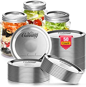 Canning Lids Regular Mouth, 50 Count Mason Jar Canning Lids for Ball, Kerr, Canning Jar lids Bulk, Food Grade Material Reusable Leak Proof Split Type Lids (stainless steel) with Silicone Seals Rings