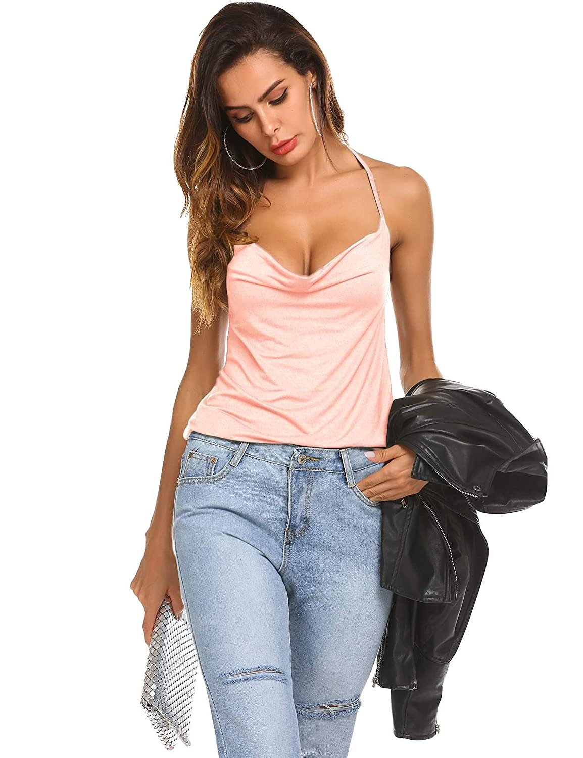 f748c87c5f8 Top6  Kecooi Women Sexy Halter Neck Backless Draped Casual Solid Cami Top