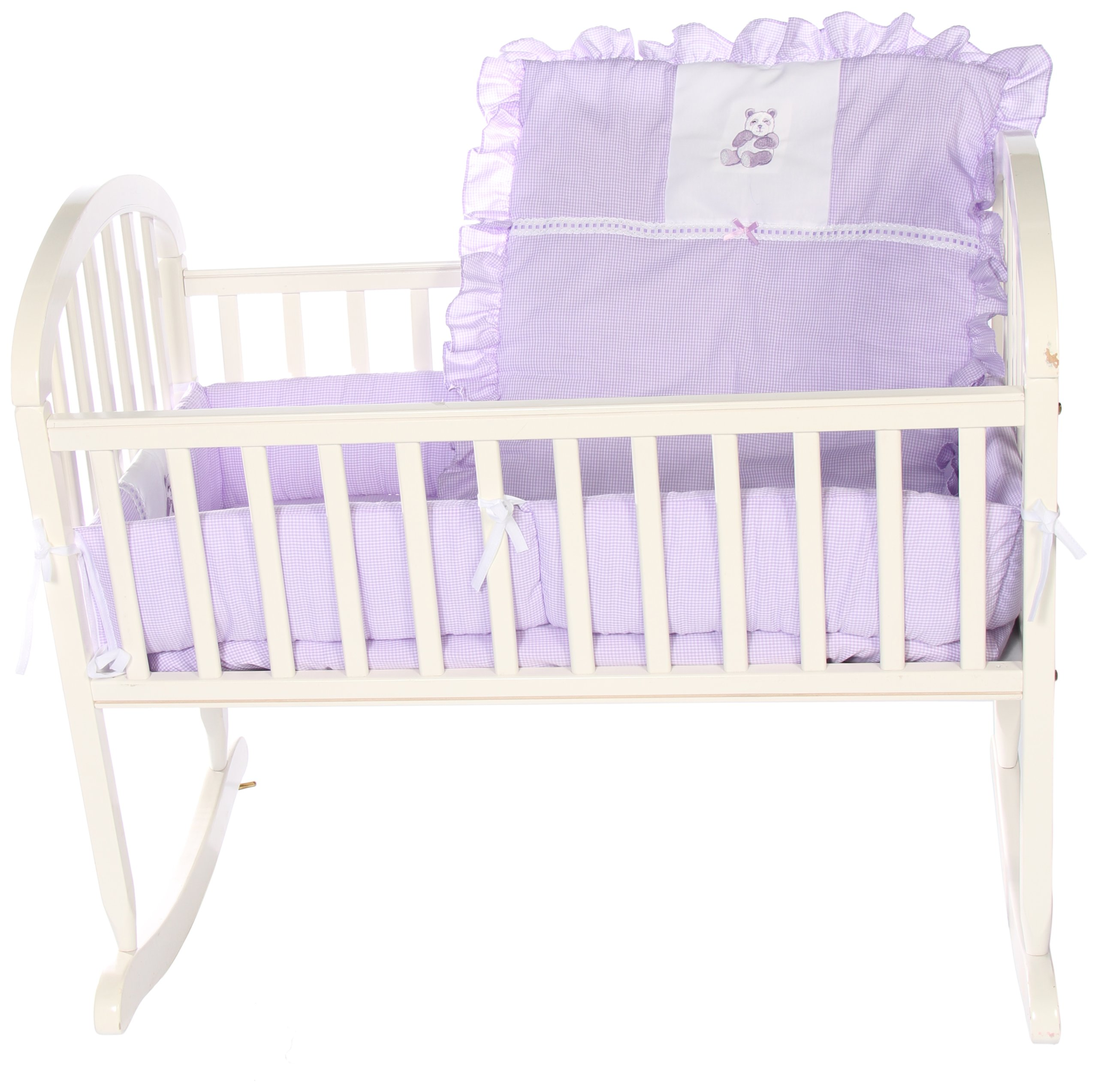 Baby Doll Bedding Gingham with Bear Applique Cradle Bedding Set, Lavender