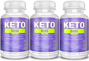 Keto BHB Real Capsules for Weight Loss, Keto BHB 800 Pills for Real Energy, Focus, Metabolism Boost - Premium Advanced Powder Exogenous Ketones for Rapid Ketosis Diet for Men Women - 3 Bottles