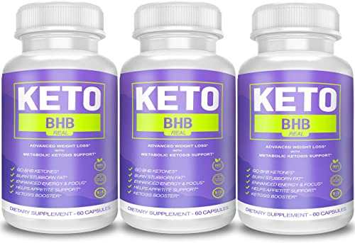 Keto BHB Real Capsules for Weight Loss, Keto BHB 800 Pills for Real Energy, Focus, Metabolism Boost – Premium Advanced Powder Exogenous Ketones for Rapid Ketosis Diet for Men Women – 3 Bottles