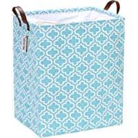Sea Team 19.7 Inches Rectangle Large Size Canvas Fabric Laundry Hamper with PU Leather Handles, Storage Basket, Laundry…