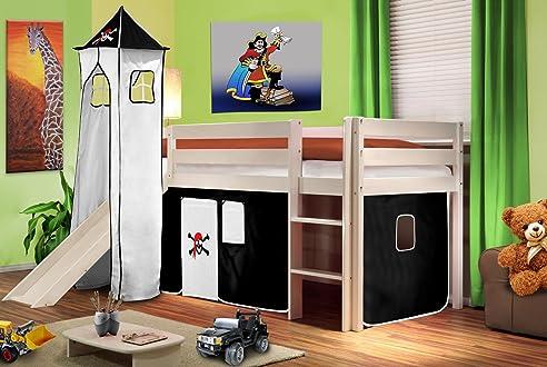 Hochbett mit rutsche pirat  Hochbett Kinderbett Spielbett mit Turm und Rutsche Massiv Kiefer ...