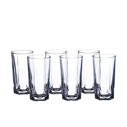 5f23c77223b Image Unavailable. Image not available for. Color  Water Beverage 6 oz.  (180 ml) HIGHBALL Glasses Set ...