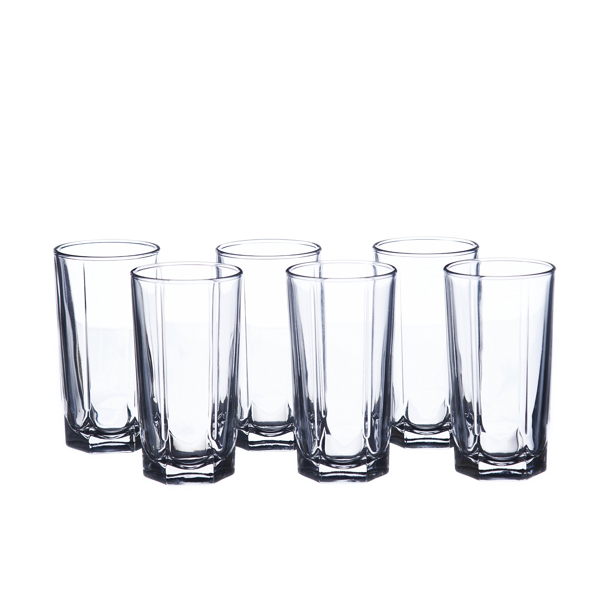 Water/Beverage 6 oz. (180 ml) Highball Glasses Set, Faceted, Durable Tempered Glass (12)