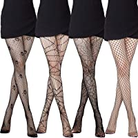4 Pieces Skull Stockings Fishnet Tights Halloween Stockings Lace Spider Web Stockings Skull