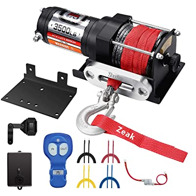 ZEAK 3500 lb. Advanced 12V DC Electric Winch, Off Road Waterproof, Synthetic Rope, Mount, for Sports car, ATV: Home Improvement