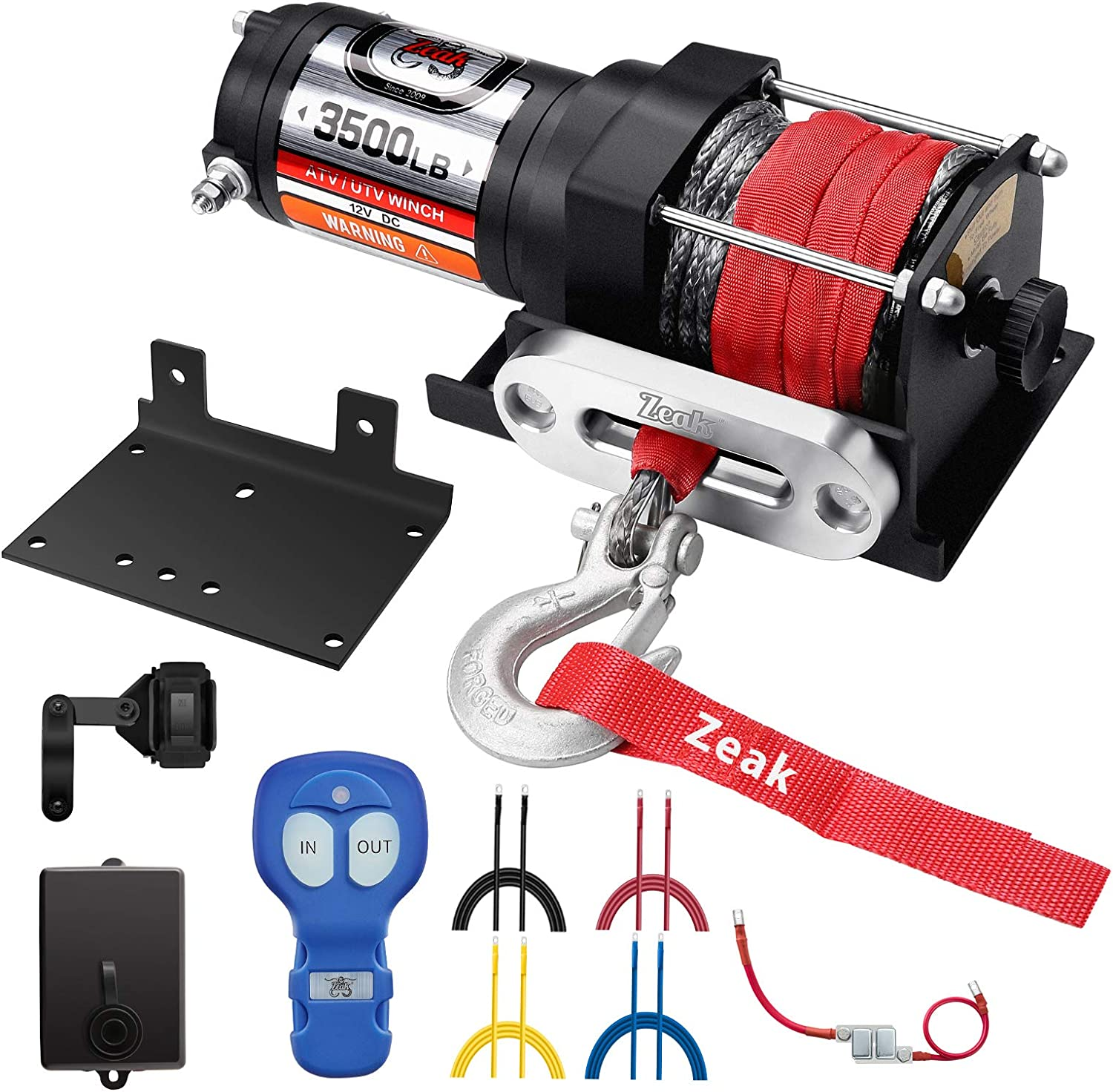 ZEAK 3500 lb. Advanced 12V DC Electric Winch, Off Road Waterproof, Synthetic Rope, Mount, for Sports car, ATV