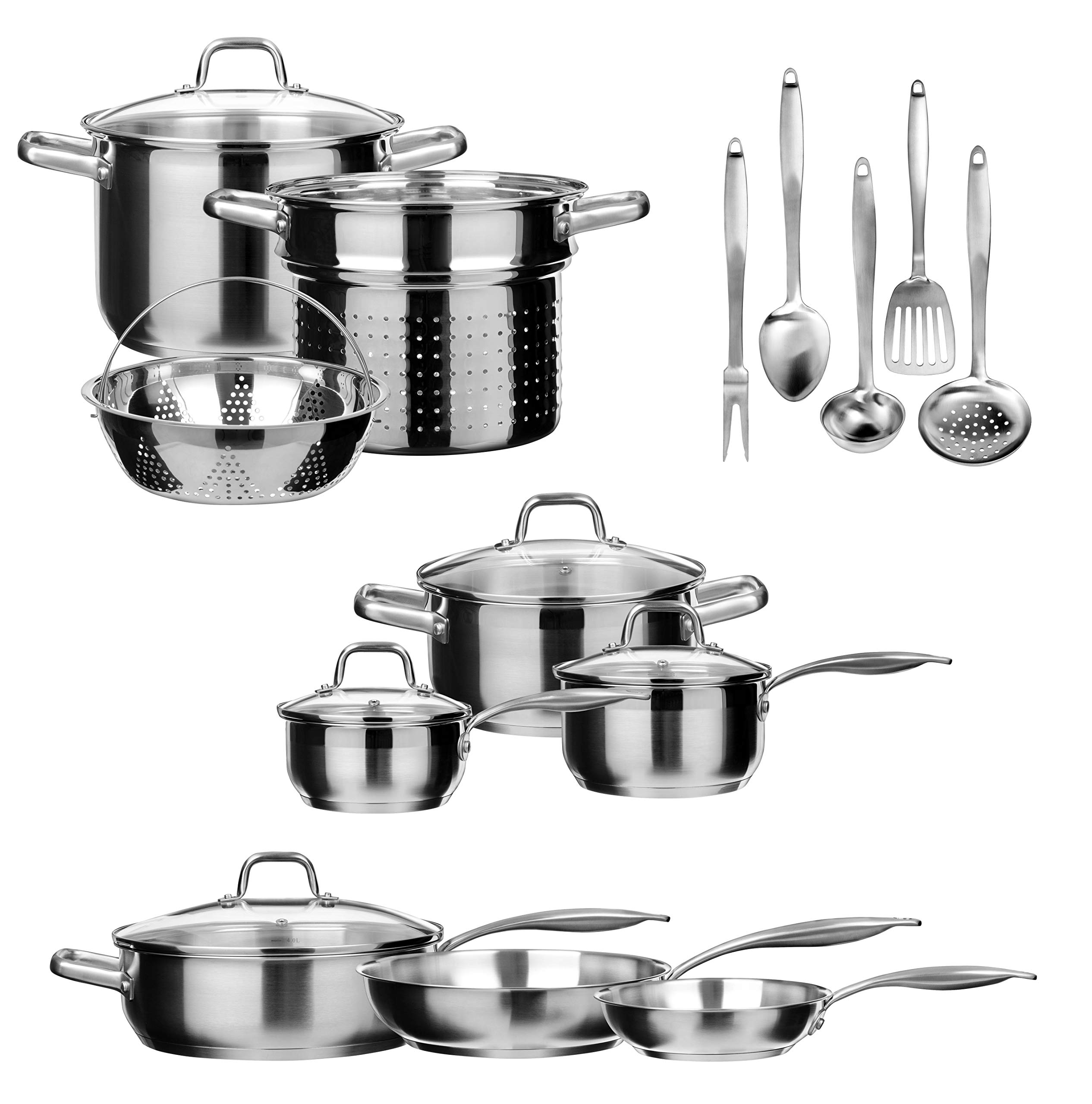 Duxtop SSIB Stainless Steel Induction Cookware Set, Impact-bonded Technology (19 Pieces)