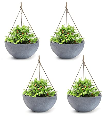 Exceptionnel Hanging Planters Large 4 Pack 13.8 Inch Indoor Outdoor, Resin Unbreakable Garden  Planters For Plants