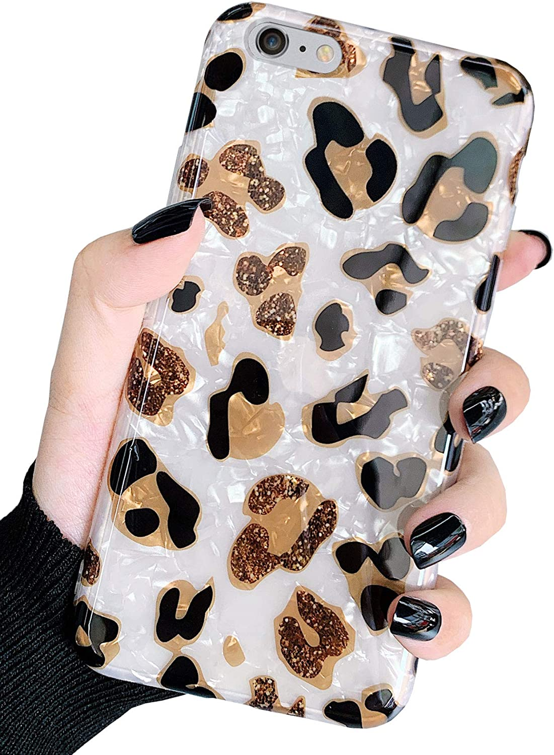 J.west iPhone 6s Plus Case, iPhone 6 Plus Case, Bling Glitter Translucent White Leopard Cheetah Print Pearly-Lustre Design Soft Silicone Protective Phone Case Cover for Women Girls (Sparkly)