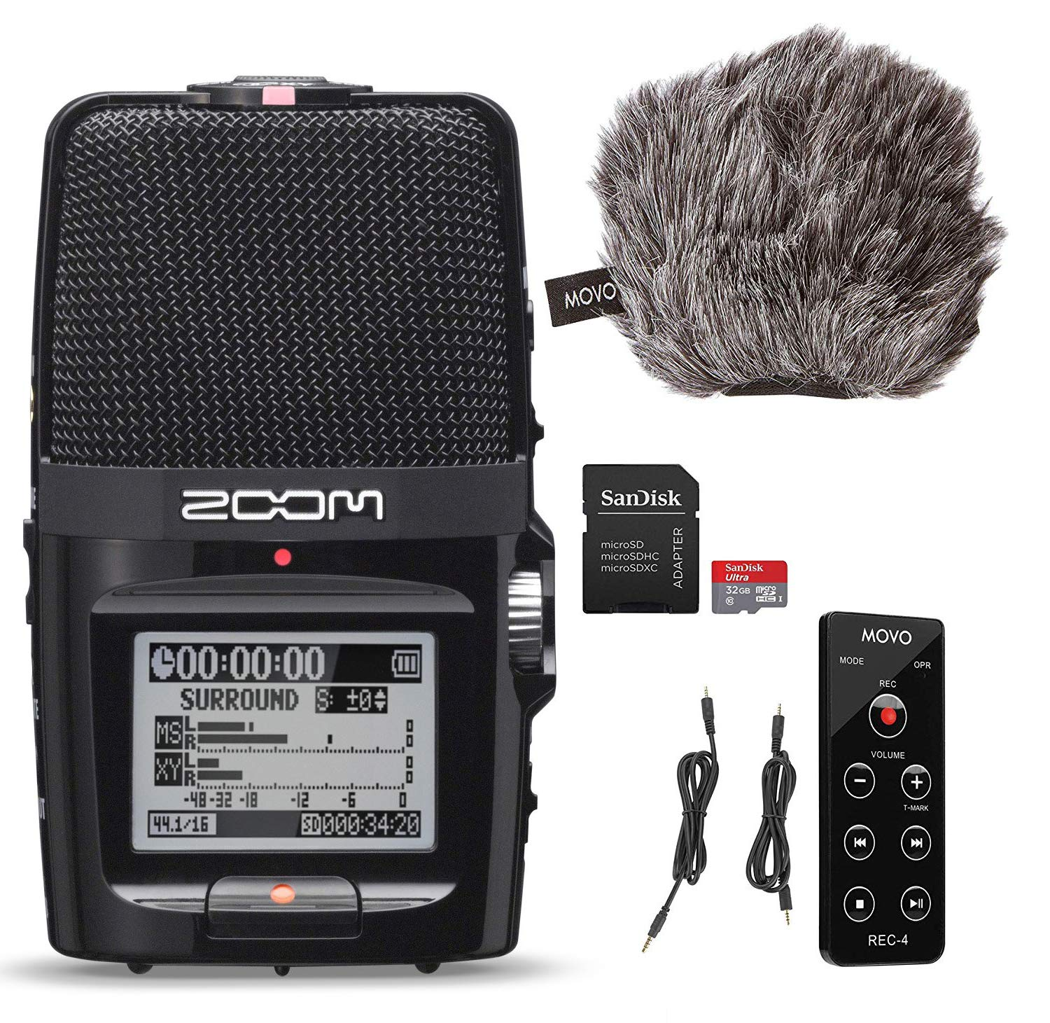 Zoom H2n Handy Audio Recorder with Movo ESSENTIALS Bundle - Includes''Deadcat'' Windscreen, Remote Commander, and 32GB SDHC Memory Card