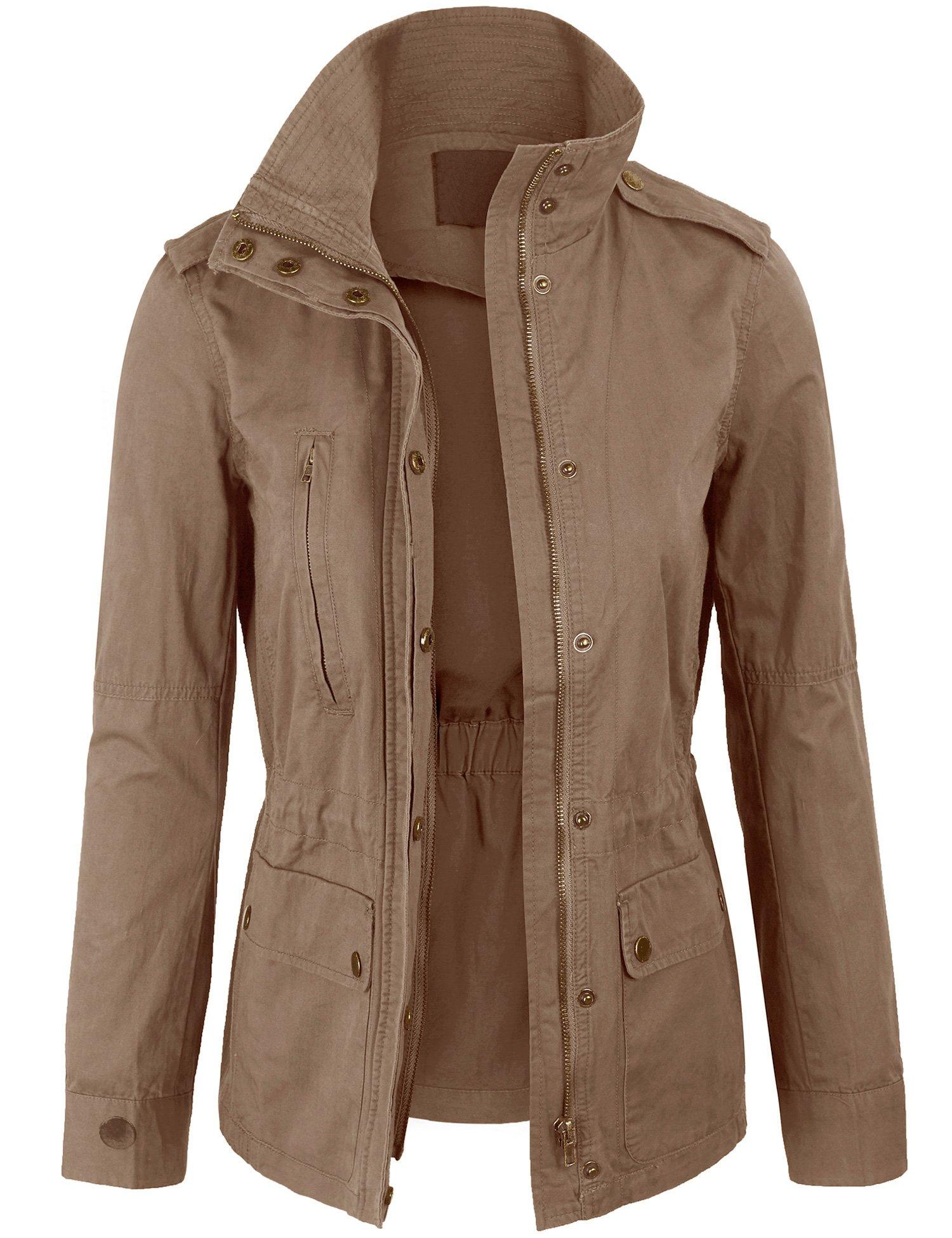 KOGMO Womens Zip up Military Anorak Safari Jacket Coat -XL-Khaki