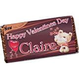 Personalised Valentines Day Love 114g Milk Chocolate Bar ~ Happy Valentines Day Present Gift Idea N56