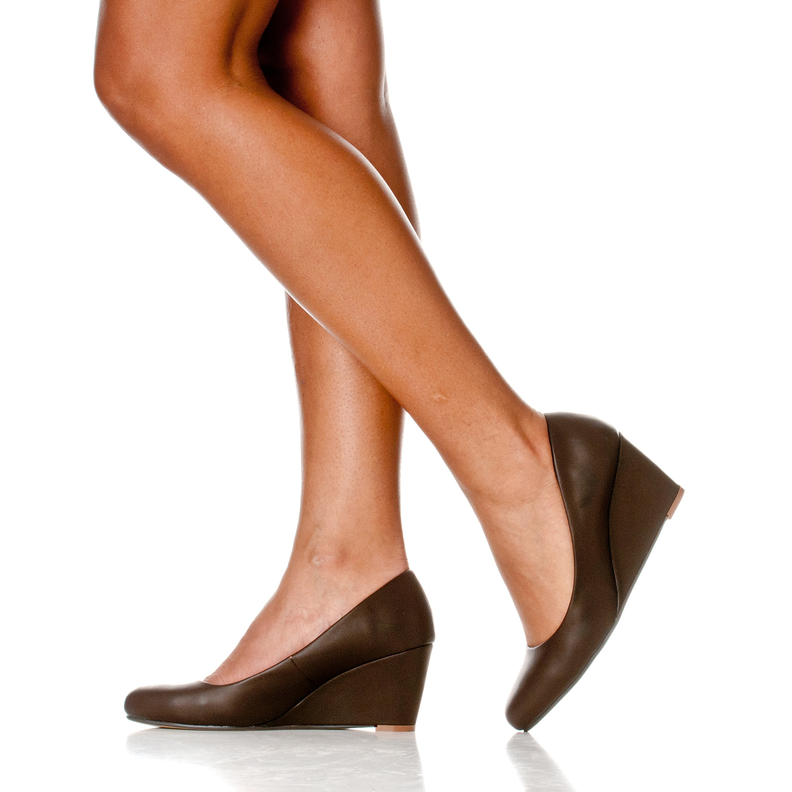 Riverberry Women's Leah Mid Heel Round Toe Wedge Pumps, Coffee PU, 9 by Riverberry (Image #6)