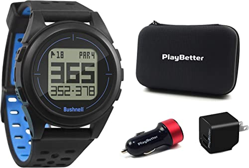 Bushnell iON2 Golf GPS Watch Black Blue Premium Bundle PlayBetter USB Car Wall Adapters PlayBetter Protective Hard Case Sleek, 36,000 Courses, Shot Distance