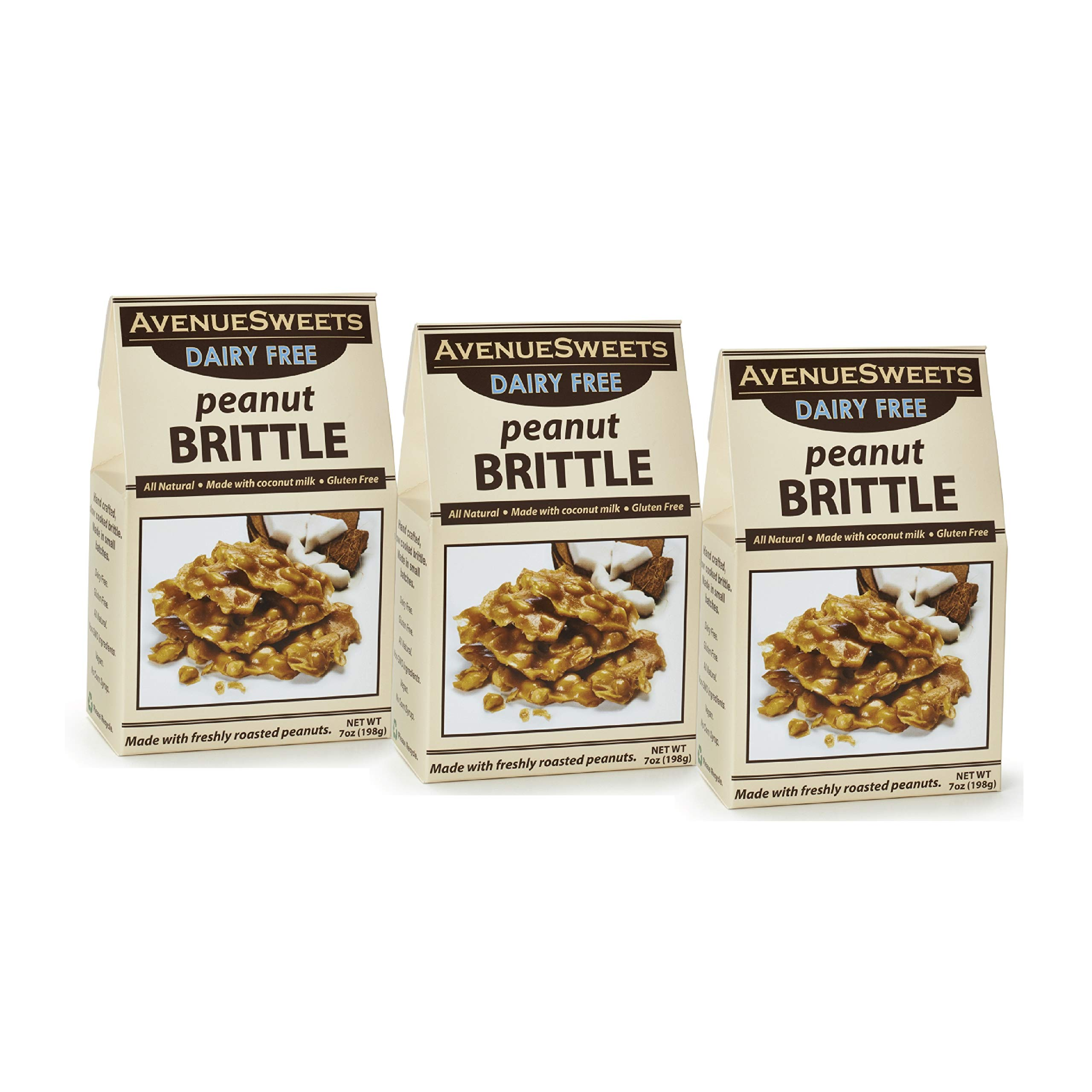 AvenueSweets - Handcrafted Old Fashioned Dairy Free Vegan Nut Brittle - 3 x 7 oz Boxes - Peanut