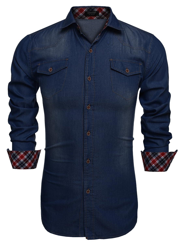 Coofandy Chemise Homme Coton Manche Longue Slim Fit Style Denim Col Italien Casual Taille S-XXXL