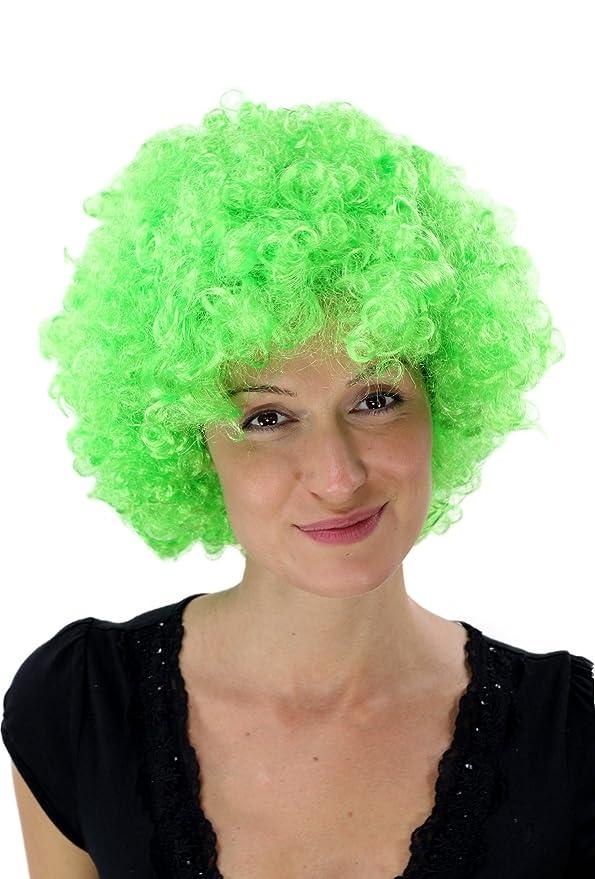 Peluca afro de color verde flúor para disfraz neón