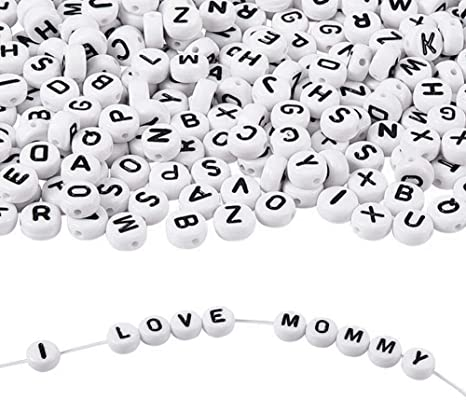 800 Pieces 4x7mm Acrylic White Round Letter Beads A-Z Alphabet Beads for Bracelets and Jewelry Making