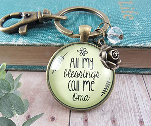Oma Keychain All My Blessings Call Me Oma Gift Quote Womens Grandma Jewelry Blessed Life Card Flower Charm