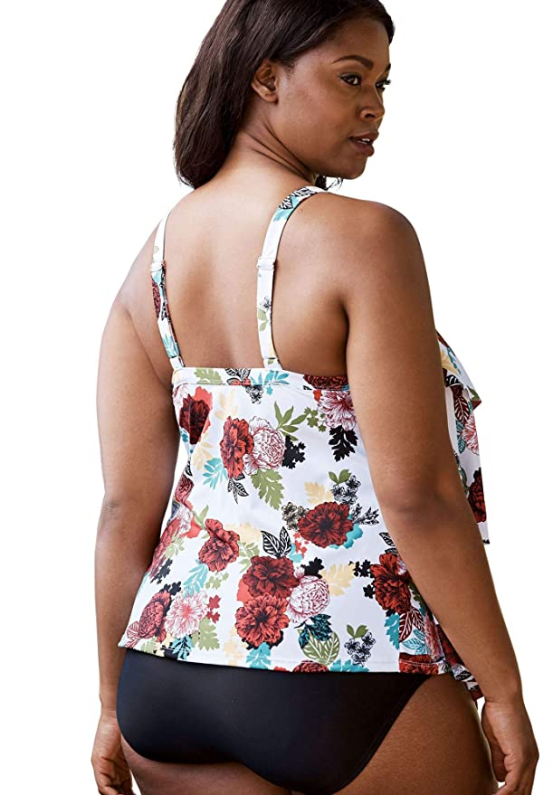 419a3cdd962b0 Amazon.com: Roamans Women's Plus Size Tiered-Ruffle Tankini Top: Clothing