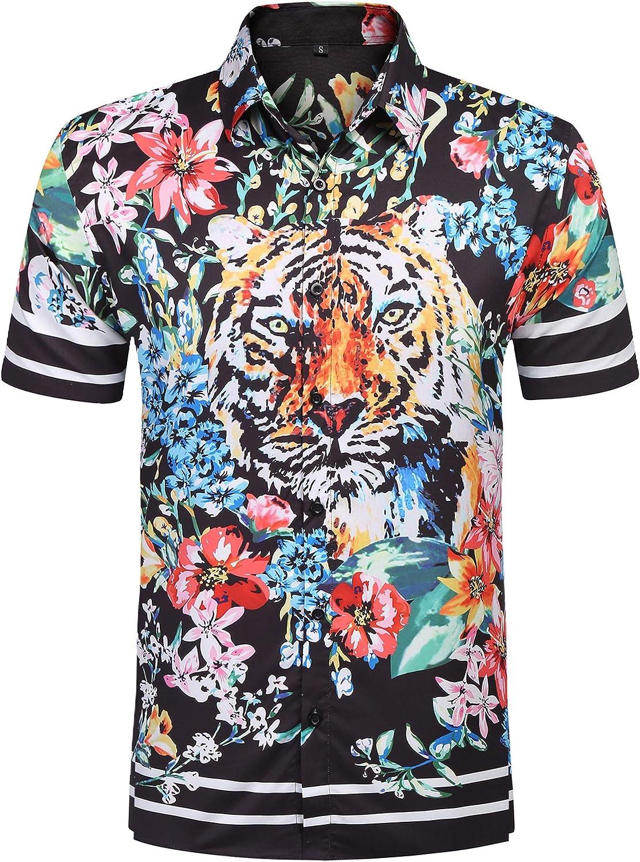 URRU Men's Casual Tiger Floral Printed Hawaiian Shirts Short Sleeve Button Down Aloha Summer Tops S-XXL