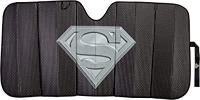 Plasticolor 003883R01 Superman DC Comics Logo Black Matte Finish Car Truck or SUV Front Windshield Sunshade