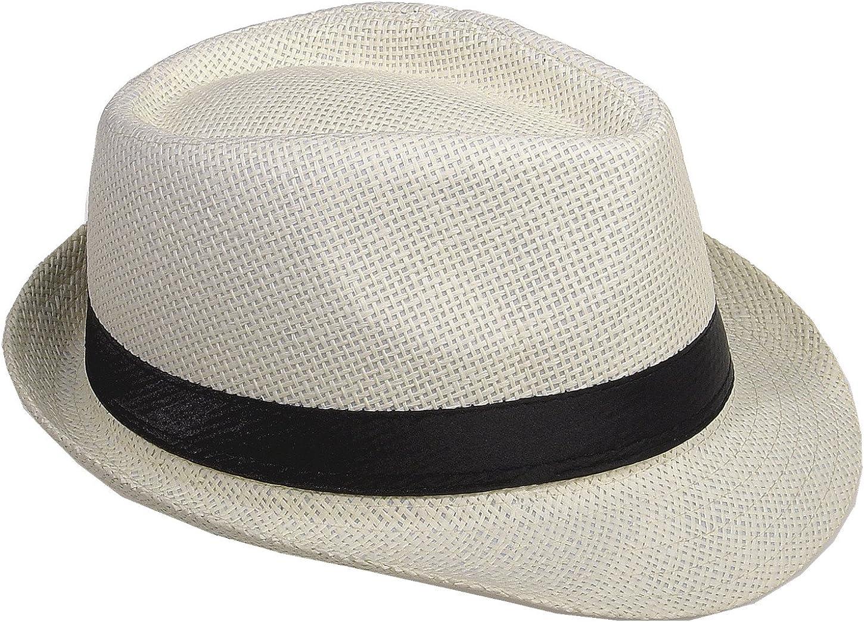 ArtiDeco Herren Sonnenhut Fedora Trilby Hut Sommer Panama Hut Herren Strohhut 1920 Stil Mafia Gangster Gatsby Kost/üm Accessoires