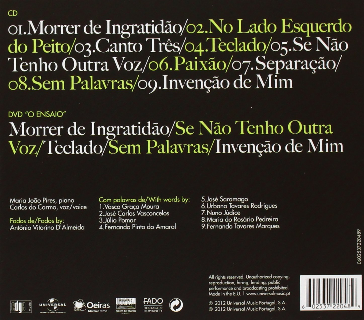 Carlos Do Carmo, Carlos Do & Maria Joao Pires Do Carmo - Carlos Do Carmo & Maria Joao Pires - Amazon.com Music