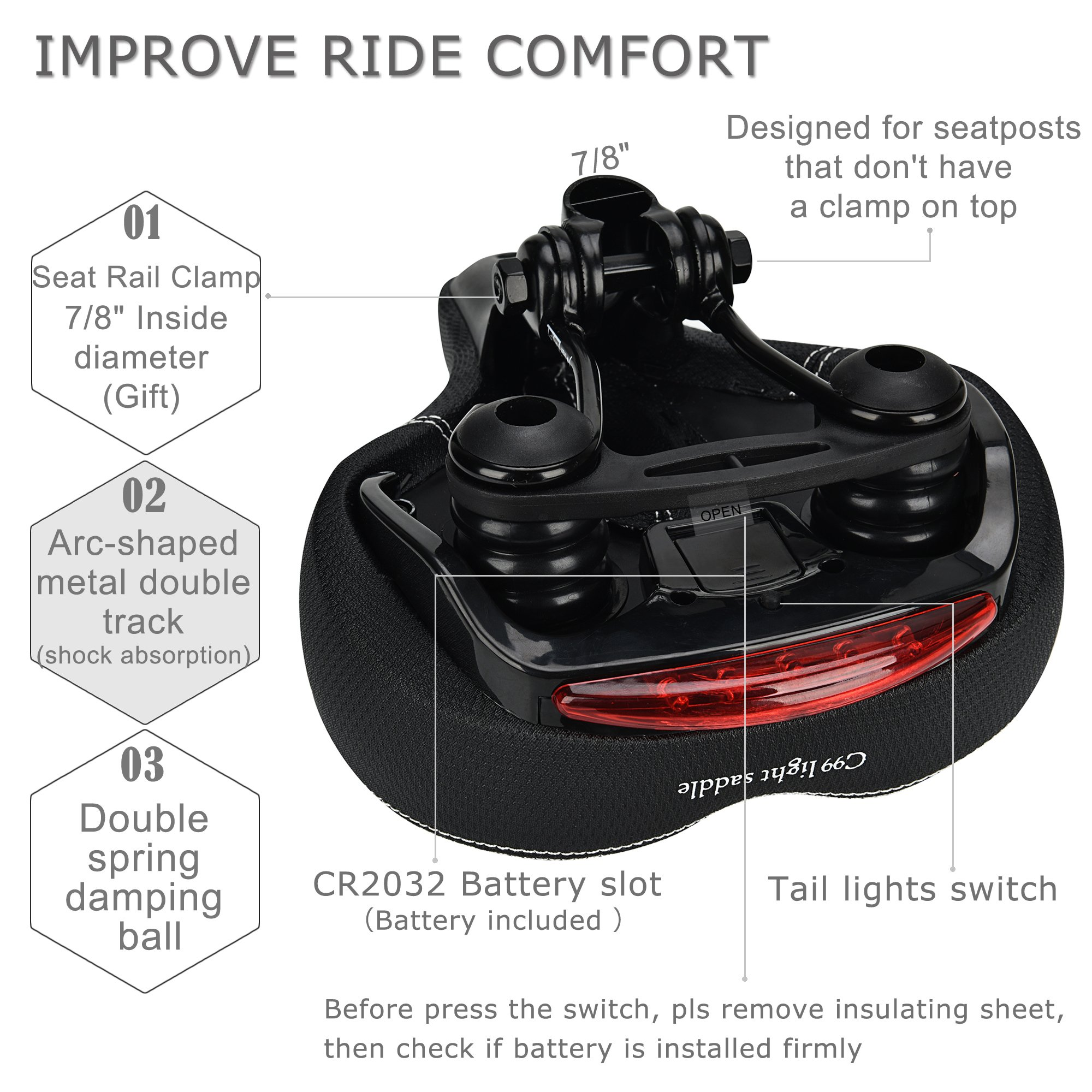 DAWAY Comfortable Men Women Bike Seat C99 Memory Foam Padded Leather Wide Bicycle Saddle Cushion with Taillight, Waterproof, Dual Spring Designed, Soft, Breathable, Fit Most Bikes, 1 Year Warranty by DAWAY (Image #5)