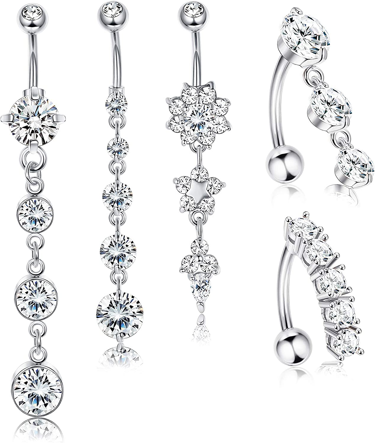 14G Black Butterfly Dangle Stainless Steel Clear CZ Belly Ring