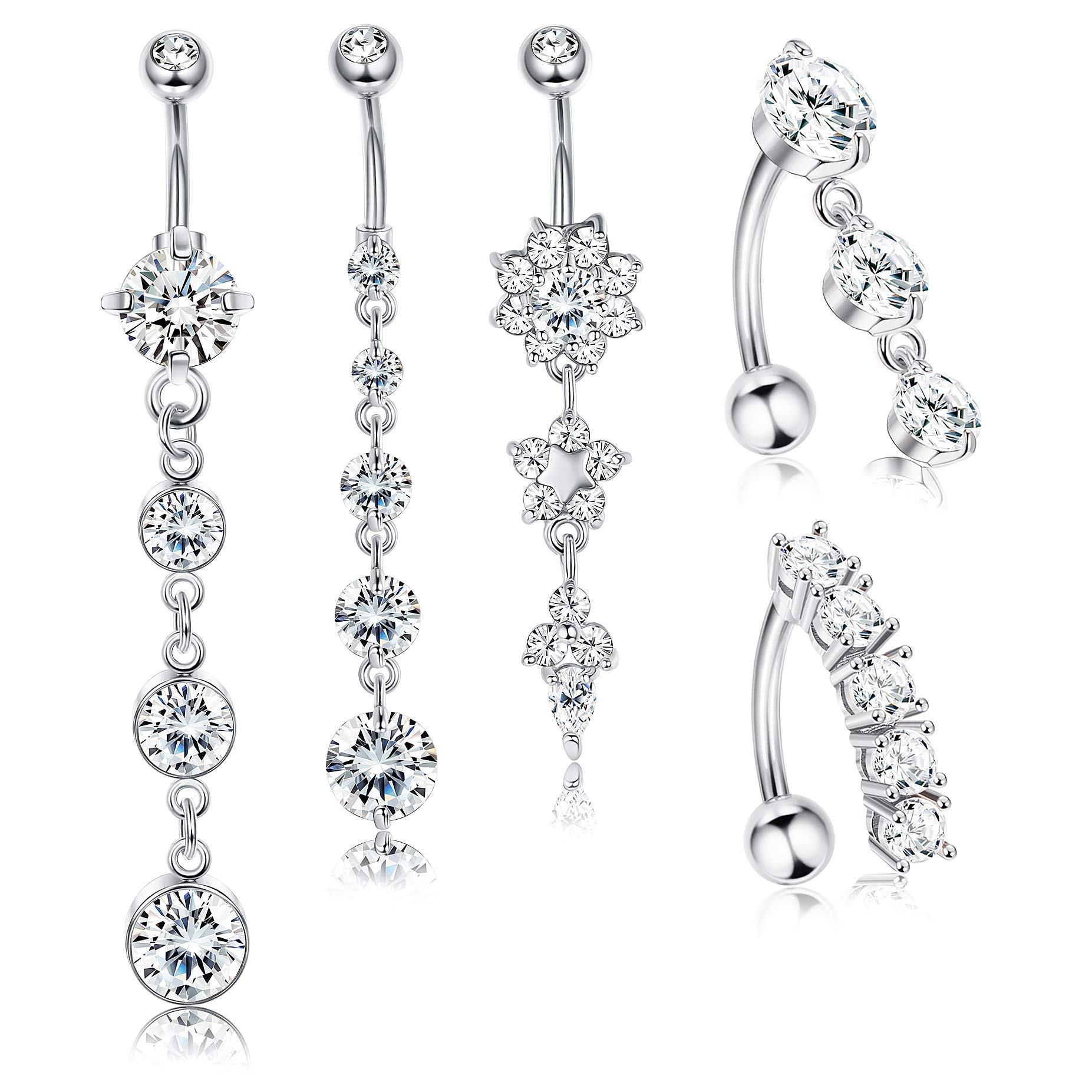 Jstyle 5Pcs 14G Stainless Steel Dangle Belly Button Rings for Women Girls Reverse Navel Rings Curved Barbell CZ Body Piercing by Jstyle