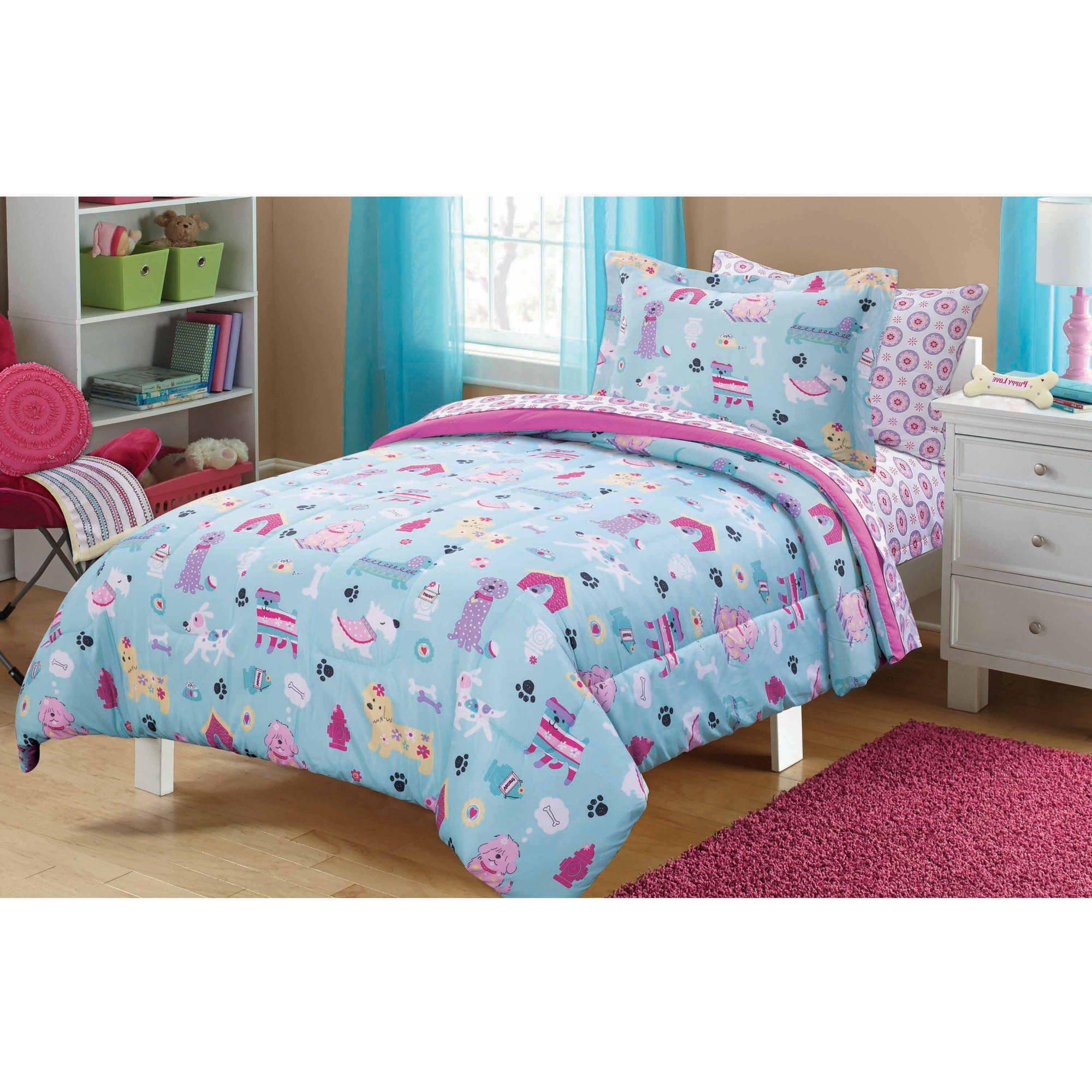 5 Piece Girls Light Blue Purple Puppy Love Comforter Twin Set, Yellow Pink Dachshund Bulldog Pomeranian Doggy Paw Dog Dish House Bones Pattern, Cute Cuddly Kids Best Pal Animal Themed Teen, Polyester
