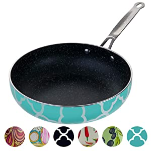 Decorative Non Stick Frying Pans Wok - Deep Skillets Induction Ready Hard Anodized Granite Marble Stone Coating Pan 9.5 inch for Cooking ,Baking on Stove or Oven with Stainless Steel Ergonomic Handle